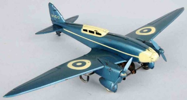 Rico Tine Ariplanes Tin lithographed airplane wind-up toy, de Haviland comet rac