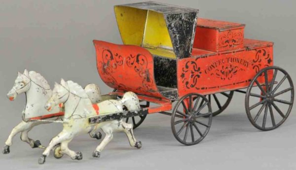 Brown George Tin-Carriages Confectionary wagon, early American hand painted tin with ca