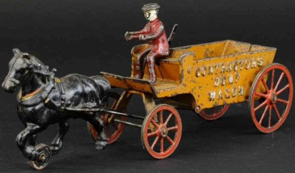 Arcade Cast-Iron-Carriages Horse drawn contractors wagon made of cast iron, open bed wa