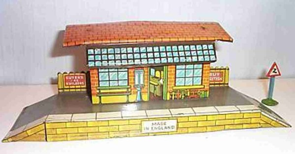 Hornby Railway-Stations Country railway station on platform, tin lithographed, made