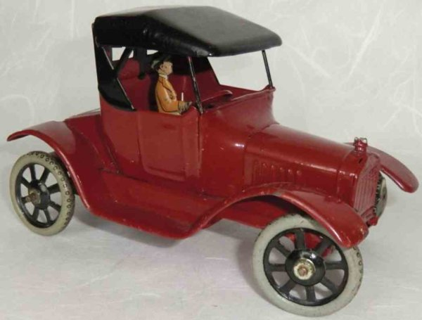 Bing Tin-Oldtimer Oldtimer in red, black roof, spoked wheels with driver figur