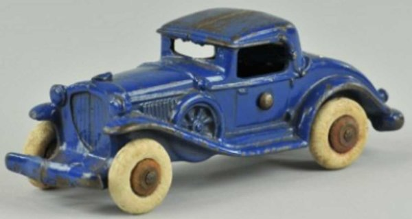 Williams AC Cast-Iron Oldtimer Coupe with rumble seat of cast iron, painted dark blue with