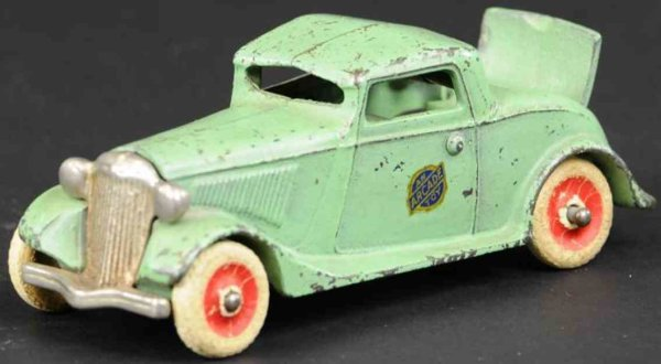 Arcade Cast-Iron Oldtimer Coupe with rumble seat, made of cast iron, painted green wit