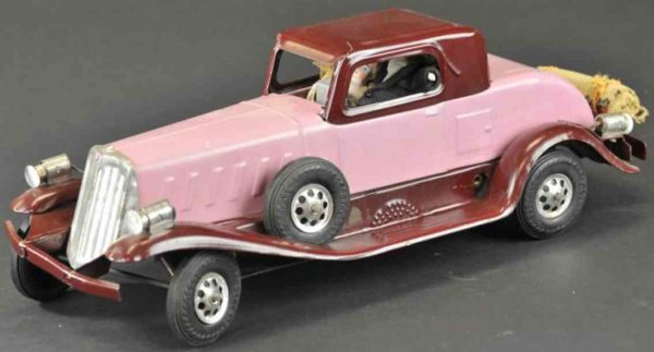 Girard Tin-Oldtimer Arrow coupe pressed steel, very popular, light purple and bu