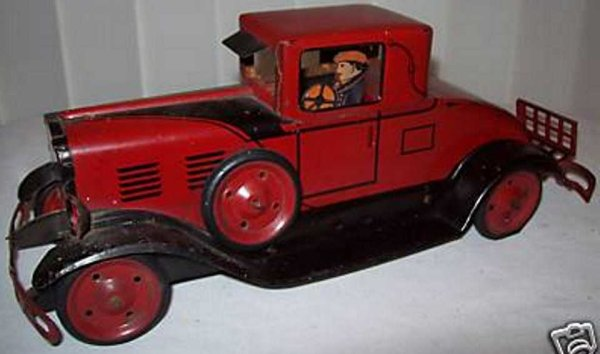 Marx Tin-Oldtimer Coupe made of pressed steel windup car with driver, rubber t