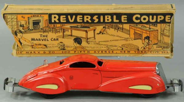 Marx Tin-Oldtimer Tin lithographed wind-up reversible coupe toy auto. Operated