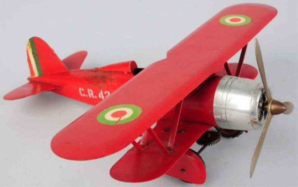 Ingap Tine Ariplanes Tin lithographed airplane wind-up toy, early bi-wing version