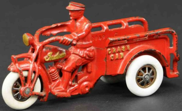 Hubley Cast-Iron-Motorcycles Motorcyclist made of cast iron, painted in red overall, cast