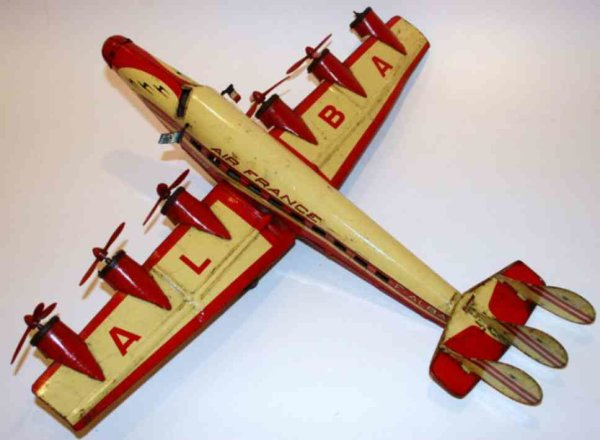 Joustra Tine Ariplanes Airplane Croix Du Sud with clockwork, beige and red lithog
