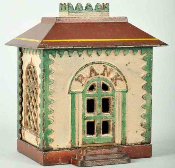 Stevens Co J. & E. Cast-Iron-Mechanical Banks Cast iron home with crown still bank in white, brown a