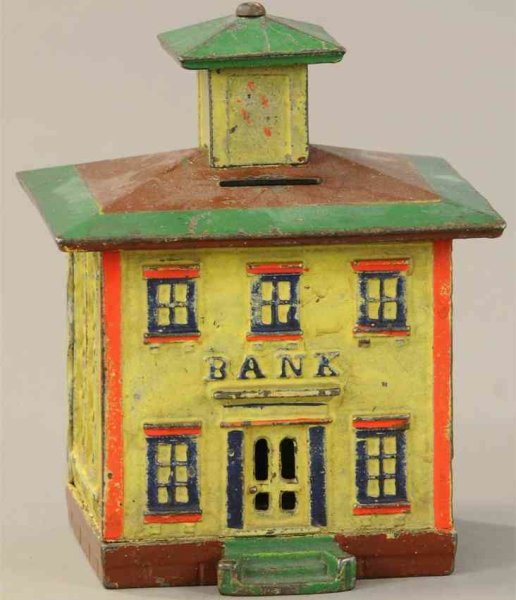 Stevens Co J. & E. Cast-Iron-Mechanical Banks Cupola still bank made of cast iron, yellow building w