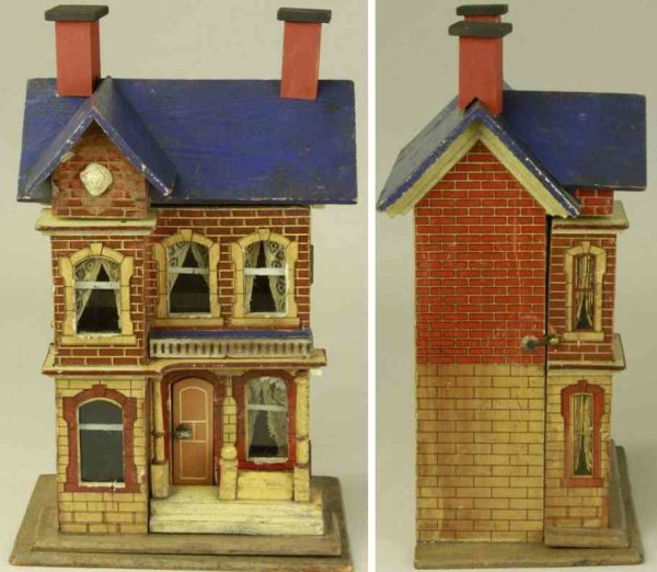 Gottschalk Moritz Dollshouses -Accessories Doll house with blue roof, paper litho over wood house wi