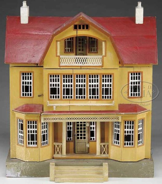 Gottschalk Moritz Dollshouses -Accessories Very large red roof doll house, house has red painted roo