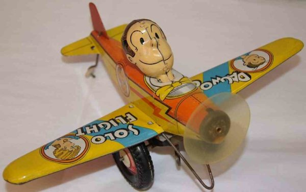Marx Tine Ariplanes Dagwood and Blondie airplane wind up toy. When wound up play