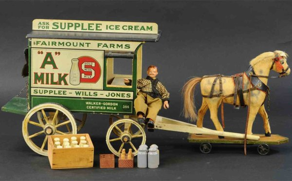 Schoenhut Wood Vehicles Dairy wagon, wood horse drawn wagon, as used by the Fairmou
