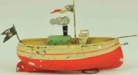Fleischmann Tin-Ships Steamer hand painted overall, red...