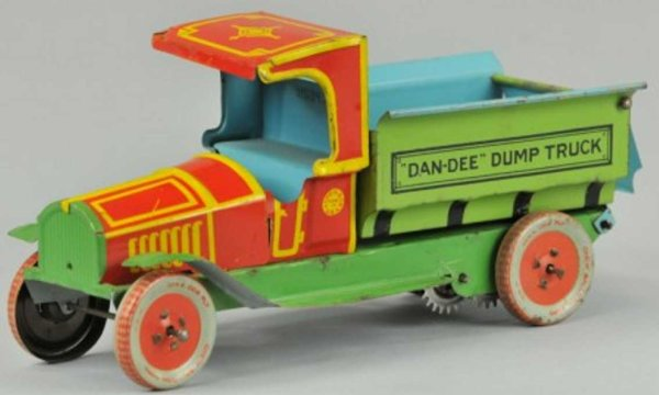 Chein Co. Tin-Trucks DAN-DEE dump truck lithographed tin, very colorful C cab w