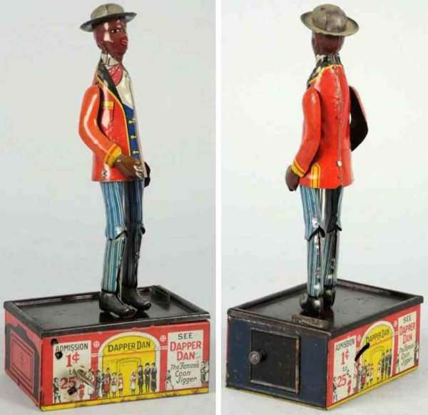Marx Tin-Mechanical Banks Tin dapper dan roof dancing wind-up toy, scarce variation wi