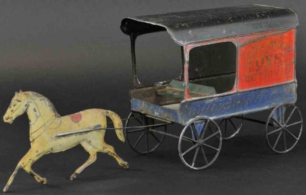 Fallows Tin-Carriages Toys & notions delivery wagon, hand painted tin wagon, stenc