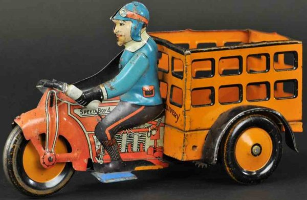 Marx Tin-Motorcycles Speed boy delivery cycle, lithographed tin, red cycle, blue
