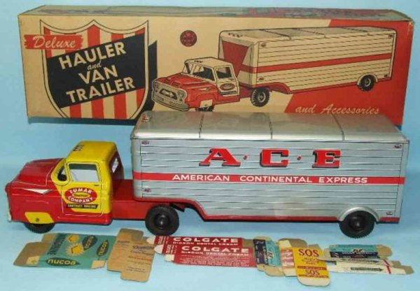 Marx Tin-Trucks ACE delivery truck an van trailer lithograhed tin with acces