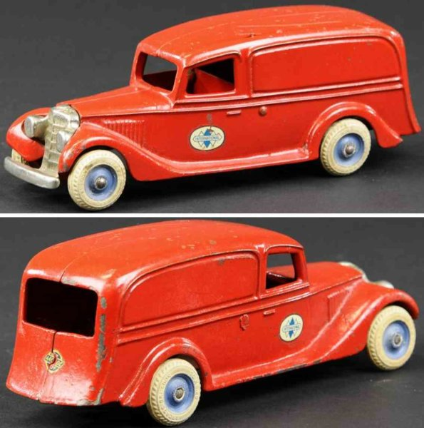 Arcade Cast-Iron trucks International panel van made of cast iron, painted in red ov