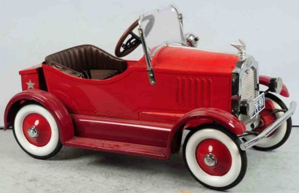 American National Co. Tin-pedal cars Early deluxe pressed steel pedal car with wooden steering wh
