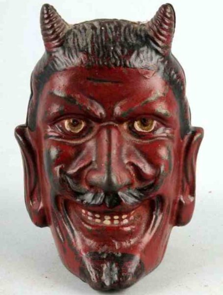 Williams AC Cast-Iron-Mechanical Banks 2-faced devil still bank of cast iron, painted in red overal