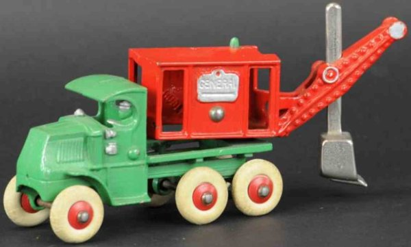 Hubley Cast-Iron Tugs-Rollers Mack truck GENERAL digger, well detailed cast iron toy exa
