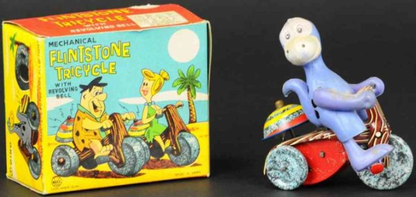 Linemar Tin-Figures Flinstones dino on tricycle, with original box, tin lithogra