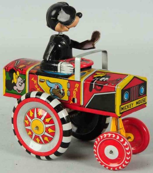Linemar Tin-Other-Vehicles Tin Mickey Mouse Dipsy auto wind-up toy, version with tin he