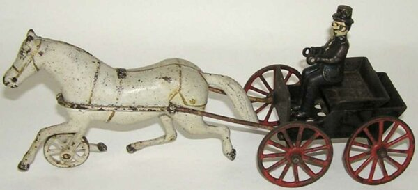 Harris Toy Co Cast-Iron-Carriages Horse drawn doctors cart with driver