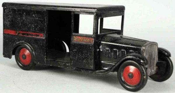 Steelcraft Tin-Trucks Pressed steel Dodds Store truck toy in black, decals on side