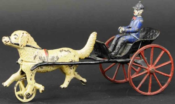 Wilkins Cast-Iron-Carriages Dog cart made of cast iron, drawn by dog painted in white, e