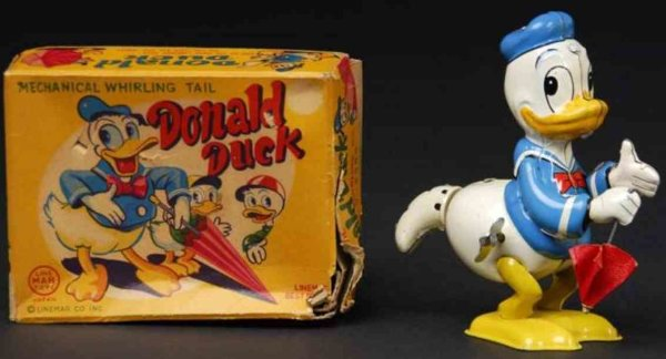 Linemar Tin-Figures Donald Duck whirling tail wind-up toy with original umbrella