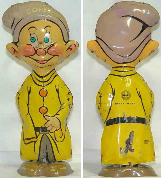 Marx Tin-Figures Dopey made of tin lithographed in yellow and beige,  wind-up