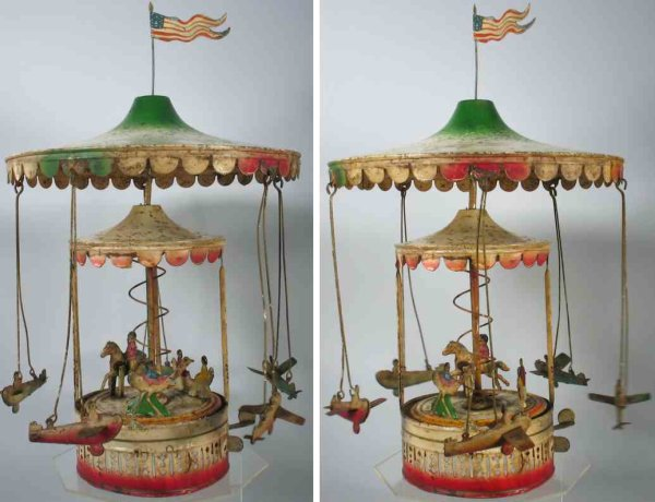 Unknown Tin-Carousels German tin carousel with double canopy and five planes with