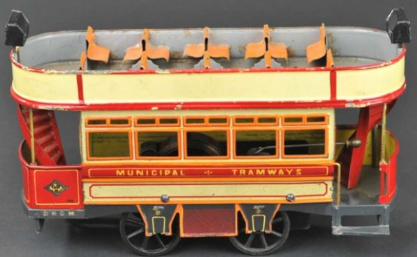 Bing Tin-Trams Double decker trolley #134435/1 clockwork driven, lithograph