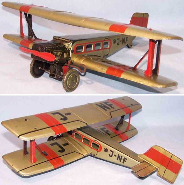 JNF Neuhierl Tine Ariplanes Biplane with clockwork made of tin, lithographed in greenbei