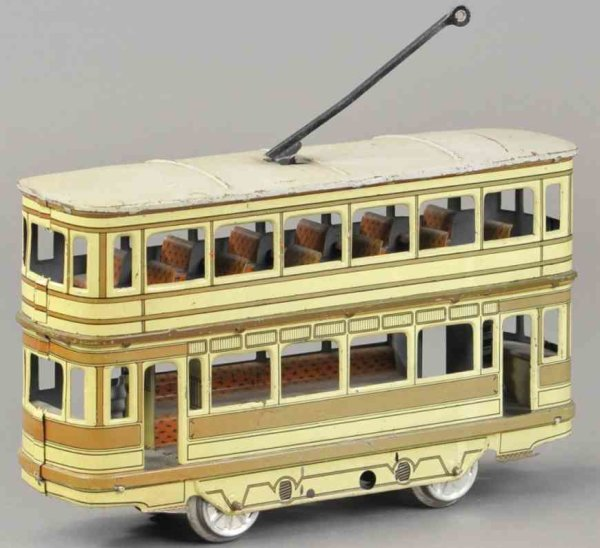 Orobr Tin-Trams Enclosed double decker trolley made of lithographed tin,  up