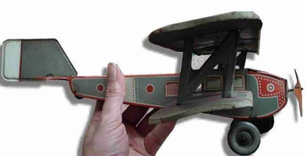 Tippco Tine Ariplanes Biplane wind-up without light-bulbs, in later version with e