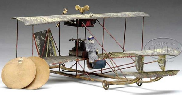 Unknown Tine Ariplanes Early tin wind-up biplane with pilot. Extremely scarce early