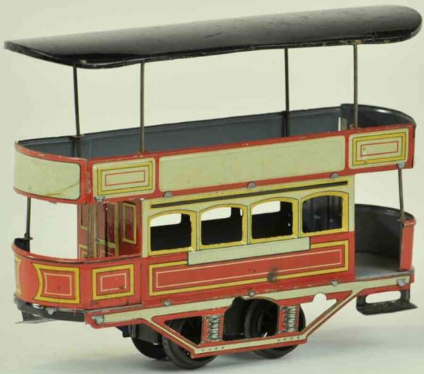 Unknown Tin-Trams Double deck trolley, made in Germany, lithographed tin, feat