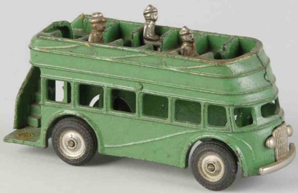 Arcade Cast-Iron buses Cast iron double decker bus in green with black rubber tires
