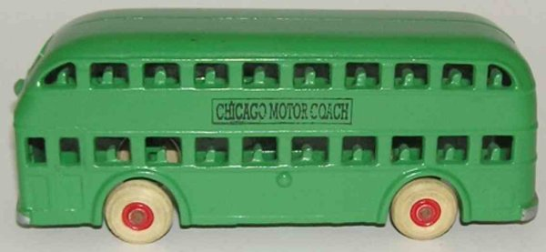 Arcade Cast-Iron buses Double decker bus CHICAGO MOTOR COACH of cast iron, nickel