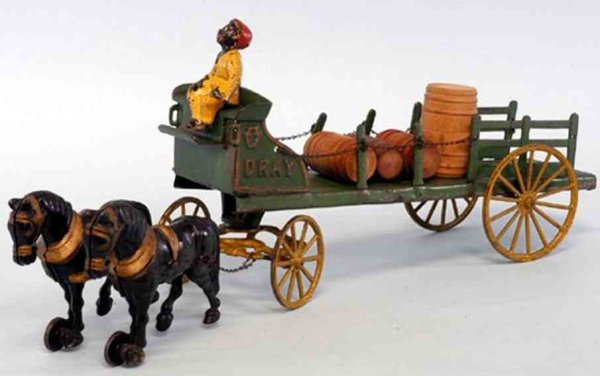 Hubley Cast-Iron-Carriages Dray Wagon painted in green open frame body, stakesides, emb