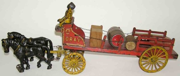 Hubley Cast-Iron-Carriages 2 horse drawn dray farm wagon of cast iron, Horses are 6 1/4