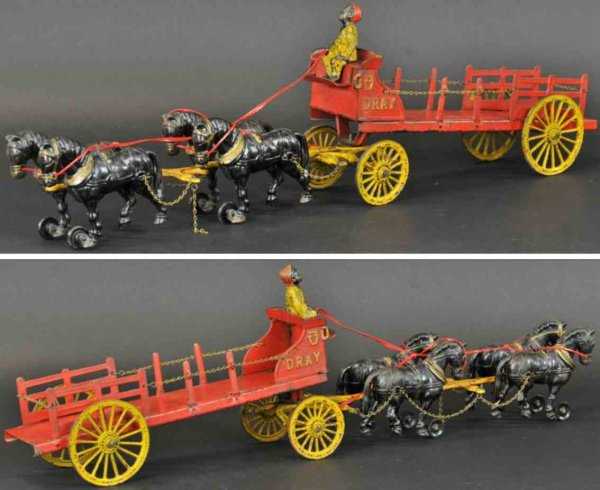 Hubley Cast-Iron-Carriages Four horse dray wagon made of cast iron, painted in red over