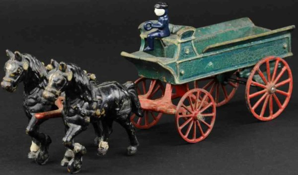 Kenton Hardware Co Cast-Iron-Carriages Dray wagon made of cast iron, painted green wagon with high