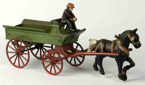 Kenton Hardware Co Cast-Iron-Carriages Horse drawn dray wagon of cast iron includes seated driver